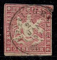WURTTEMBERG, 1861, Cancelled Stamp(s) 9 Kreuzer, Red, MI 19, #16098 - Wurttemberg
