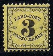 BADEN, 1862, Unused No Glue,  Stamp(s) Landpost Porto Marke, 3 Kreuzer, MI 2 #16062 - Baden