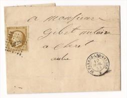 N°9 Obl PC 3228 + T15 St Parres Les Vaudes, Sur Lettre (incomplète) Locale - 1853 - 1849-1876: Classic Period