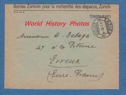 Enveloppe Ancienne - ZURICH - Bureau Zuricois Pour La Recherche Des Disparus - 1918 Ww1 - Switzerland