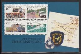 Christmas Island MNH Scott #306a Souvenir Sheet Of 4 Policing On Christmas Island - Christmas Island