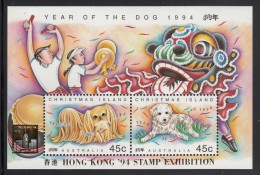 Christmas Island MNH Scott #359d Souvenir Sheet Year Of The Dog - Hong Kong 94 Stamp Exhibition Overprint - Christmas Island