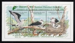 Christmas Island MNH Scott #274e Souvenir Sheet Of 3 Abbott´s Booby - Birdpex 90 Overprint - Christmas Island