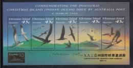 Christmas Island MNH Scott #349g Souvenir Sheet Of 5 Seabirds - Taipei 93 Overprint - Christmas Island