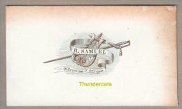 CARTE DE VISITE PORCELAINE  +/- 1850 PORCELEINKAART  VISITEKAARTJE HENRI SAMUEL OFFICIER AU 1 Er LIGNE BRUGGE BRUGES - Visitenkarten