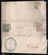 AÑO 1875, ASTURIAS, ED. 153, 154, MARCA DIRECCIÓN DEL HOSPITAL PROVINCIAL DE OVIEDO, FECHADOR DE OVIEDO,LLEGADA A TINEO - Covers & Documents