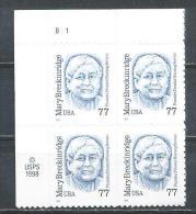 USA. Scott # 2942 MNH. Plate Block Of 4. Mary Breckinridge  1998 - Numéros De Planches