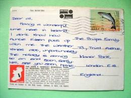 "Ireland 1982 Postcard ""Kennedy Memorial - Wexford"" To England - Fish Salmon - 1949-... Republic Of Ireland"