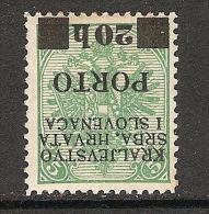 Jugoslawien / Yugoslavia / Bosnia - Mi.Porto 18K - Mint / * 1919 Inverted Overprint - Portomarken