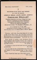 DOODSPRENTJE-ADEL-NOBLESSE-CHEVALIER-POULLET-COUR D'APPEL-COMMANDEUR-LEUVEN-1869-LIEGE-1927-VOYEZ-2 SCANS-TOP ! - Images Religieuses