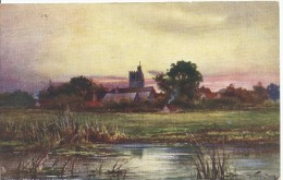 """Bray Church Late Evening """"Up The River""""  Series 1 Raphael Tuck & Sons Oilette No 6420 Used  Both Sides Shown - Other"""