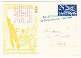 Gelaufene Ganzsache Karte Flugmeeting Nohra Aufdruck Flugplanes 1928 + Lemoigne - Blauer Stempel 9-10-29 Bourget - Dugny - Poste Aérienne