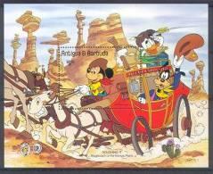 MuzD097 WALT DISNEY MICKEY GOOFY PAARD WILD WEST HORSES STAGECOACH CACTUS TWAIN ANTIGUA & BARBUDA 1985 PF/MNH - Disney