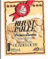 Etiquette  RHUM  DAMOISEAU 50° Rhum  Paille -  GUADELOUPE -- - Rhum