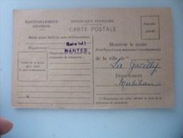 Carte De Ravitaillement Generale Pour Timbre N 15a (sans Timbre) La Gacilly Morbihan - Dienstpost