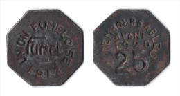 47 - LOT ET GARONNE - FUMEL - JETON NECESSITE UNION FUMELOISE 1917 25 C REMBOURSABLE AVANT 1920. FER 25 MM - Monetary / Of Necessity
