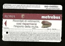 Biglietto Autobus e Metro Italia - Roma tipo 3