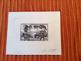 Guinée Francaise AOF 1943-44 EPREUVE D´ ARTISTE Signé Cottet Yv 183(chute D´ Eau Waterfalls Wasserfälle Tree Die Proof