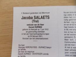 Doodsprentje Jacoba Salaets ( Trui) Neerpelt 1/6/1912 Ieper 24/2/2001 ( Gerard Durnez ) - Religione & Esoterismo