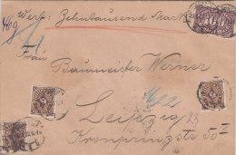 INFLA DR 3x 208 P, 219 MiF Wertbrief 10 000 Mark, Brief Der BFa. H. Schwenck, Stempel: Wiesbaden 29.1.1923 - Allemagne