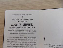 Doodsprentje Augusta Lemahieu Voormezele 12/10/1877 Westrozebeke 20/3/1958 ( August Pyck ) - Religione & Esoterismo