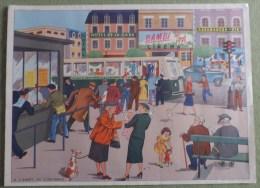 Affiche Scolaire Collection Rossingol - Montmorillon ( Vienne )   - Le Jardin au Printemps et a L�arret du L�autobus