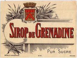 Etiquette  Ancienne De Grenadine - Imprimeur Duval - Fruits & Vegetables