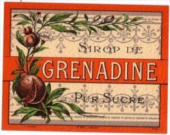 Etiquette  Ancienne De Sirop Grenadine - Imprimeur Jouneau - Fruits & Vegetables