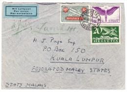 Luftpost Brief 31.VIII.1937 Neuchatel Nach Kuala Lumpur Malaysia - Poste Aérienne
