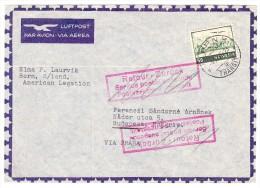 """Luftpost Brief 4.XI.1945 Bern Nach Budapest  Via Praha Stempel Rot Im Kasten """"Retour-Zurück Service Postal Suspendu - Poste Aérienne"""