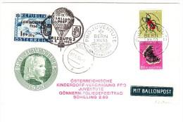 11 Ballon Post 3.5.1954 Salzburg Mit Lawinenopfer 1954 Marke Auf Pro Juventute 1953 Brief Mit Z41 Ersttag - Sonstige Dokumente