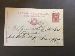 1895. CANNOBIO ANNULLO SU INTERO POSTALE PER  CRAVEGGIA - 1878-00 Humbert I