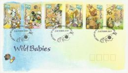 Australia 2001 Wild Babies Self-Adhesive FDC - FDC