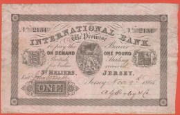 JERSEY - 1 Pound Du 9 Novembre 1865 - Dos Uniface - Pick S 161 - Jersey