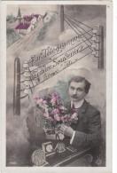 Carte Postale Ancienne Fantaisie - Homme - Par Télégramme - Tendre Souvenir - Hombres