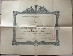 Diplôme Supérieur De Comptable Décerné à Lyon Le 22/06/1929. Faculté Libre De Droit De Lyon. - Diplômes & Bulletins Scolaires