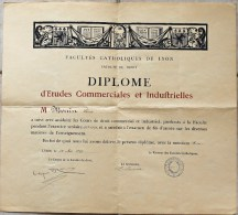 Diplôme D'Etudes Commerciales Et Industrielles Décerné Le 25/05/1929. Faculté Libre De Droit De Lyon. - Diplômes & Bulletins Scolaires
