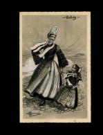 29 - LOCTUDY - Carte Llustrée Par HOMUALK - Costumes - Coiffes - Loctudy