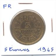 5 Francs Lavrillier  France 1945 Bronze Aluminium - Frankrijk