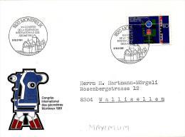 """22423 - Enveloppe Avec Timbre Et Oblit Spéciale De Montreux """"Congrès De La Fédération Des Géomètres"""" 1981 - Poststempel"""