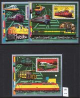 ** 1989 Malagasy (Madagascar) 3 Deluxe Sheets With  Railway / Train Interest U/m (MNH) - Trains