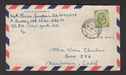 CL 1458 USA 1953 APO airmail from Germany to N.Y to California ( Stamp sc# 685 1951-52 )