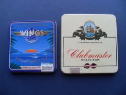 N. 2 SCATOLE SIGARI WINGS E CLUBMASTER IN LATTA (VUOTE) - Boites à Tabac Vides