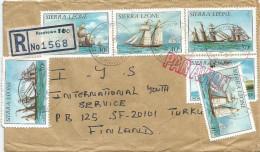 Sierra Leone 1985 Freetown Ships 30c 40c No Date 50c 1985 Registered Cover - Sierra Leone (1961-...)