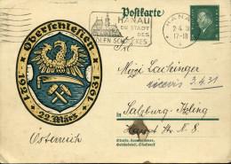 Entier Postal Ebert 8 Vert Oberschlesien (haute Silésie) Aigle Marteau Faux Outil Hanau La Ville De La Haute Joaillerie - Germany