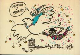 1987 CARNEVALE DI FOIANO DELLA CHIANA AREZZO DISEGNO DI STAINO TARGHETTA MECCANICA SUL RETRO - Arezzo