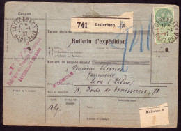 ALSACE LORRAINE: BULLETIN EXPEDITION 741 LUTTERBACH RECTO FISCAL 1F VERSO MERSON YT206x2 +SEMEUSE YT205x2 ET 189x3 - Elzas-Lotharingen