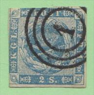 """DEN SC #3  Royal Emblems  """"1"""" (= Kjobenhavn) In Conc. Circs., 2+ Margins W/lt Stning On Backside, CV $60.00 - 1851-63 (Frederik VII)"""