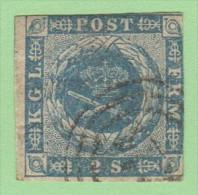 DEN SC #3  Royal Emblems  2+ Margins, CV $60.00 - 1851-63 (Frederik VII)