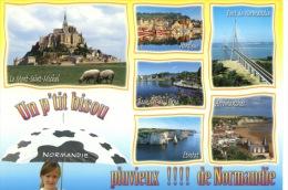 Un P´tit Bisou Pluvieux De Normandie - Parapluie Mont St Michel Honfleur Pont Bagnole Arromanches Etretat N°839 Goubey - Basse-Normandie
